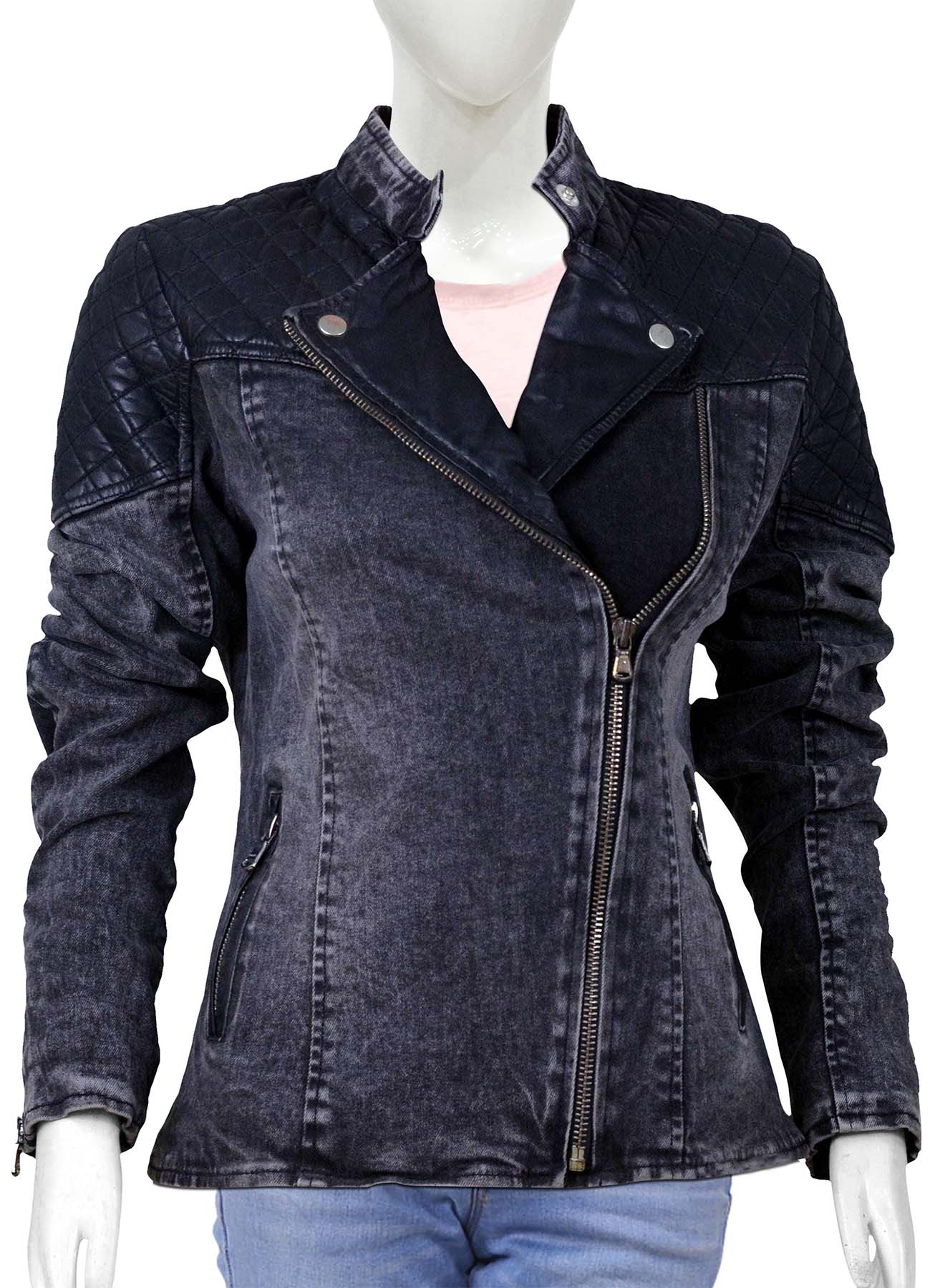 Denim Jacket With Leather Top For Women