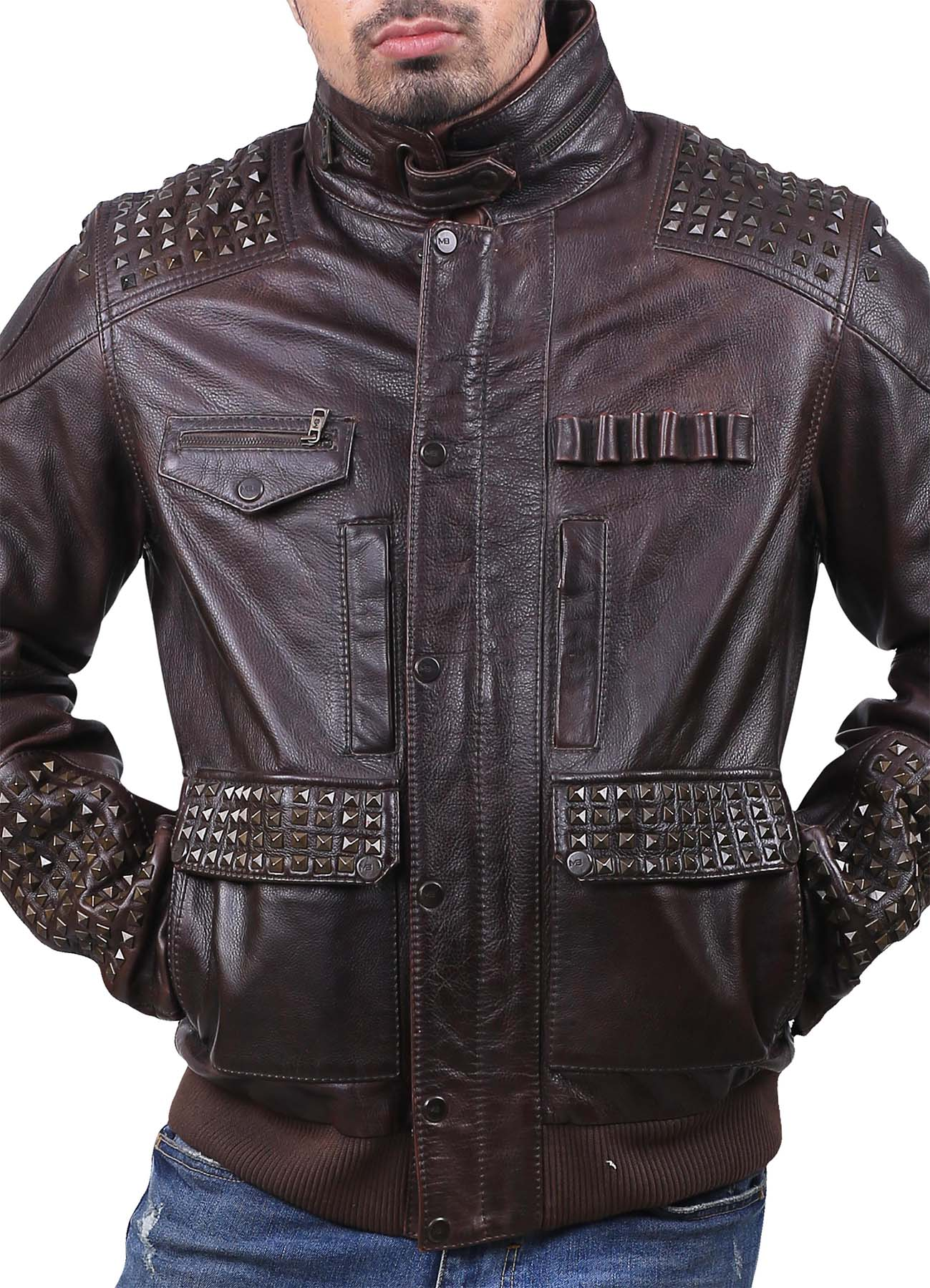 Strauss Bullet Studded Leather Jacket - American Jacket