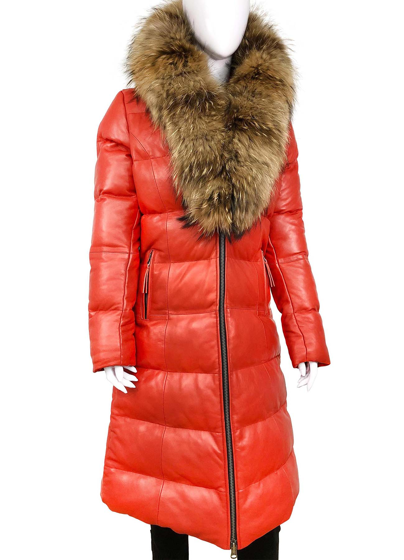 Tracy Blood Red Puffy Fur Women Leather Coat - American Jacket