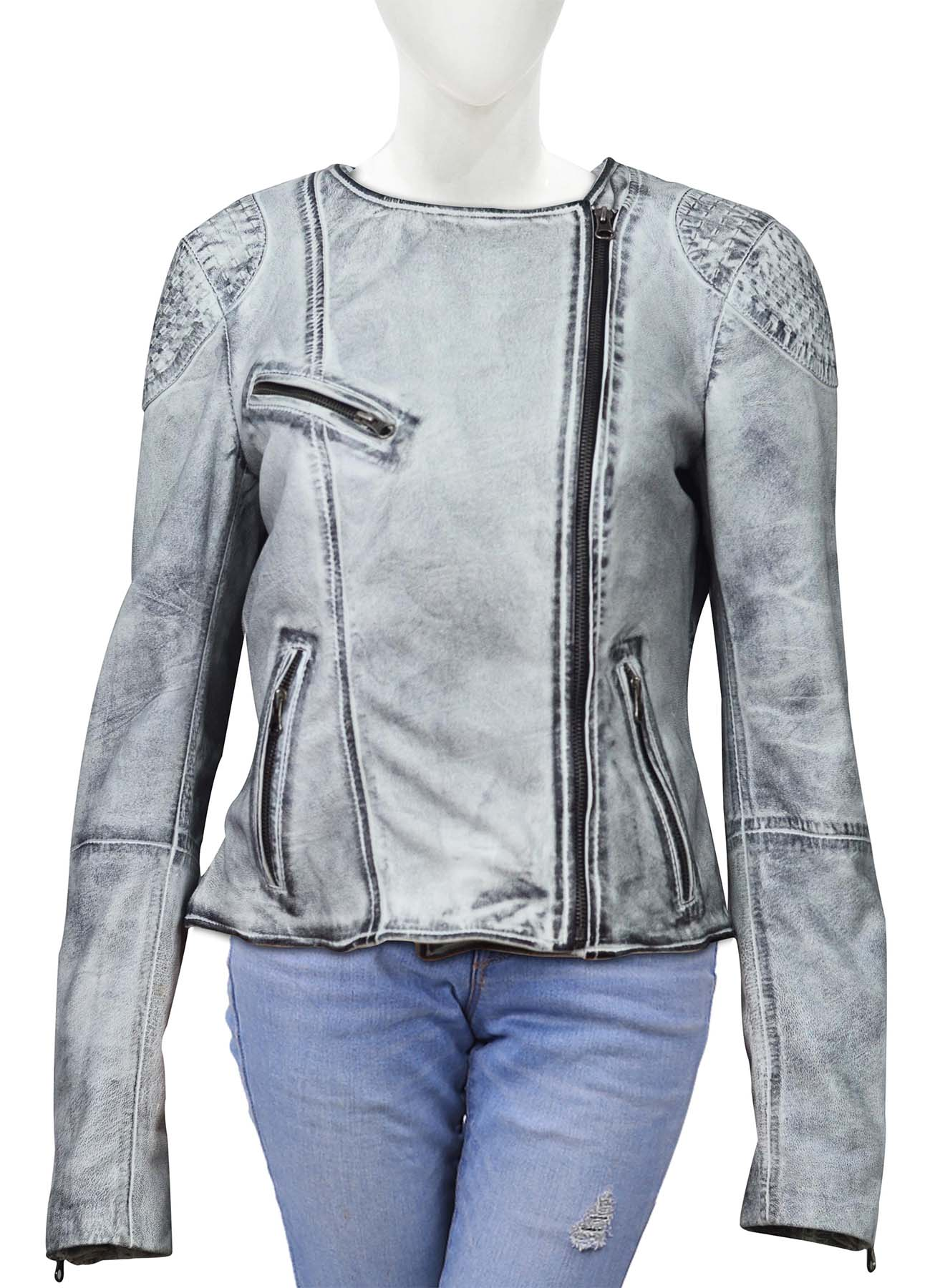 Ice White Quilted Shoulder Leather Jacket For Women