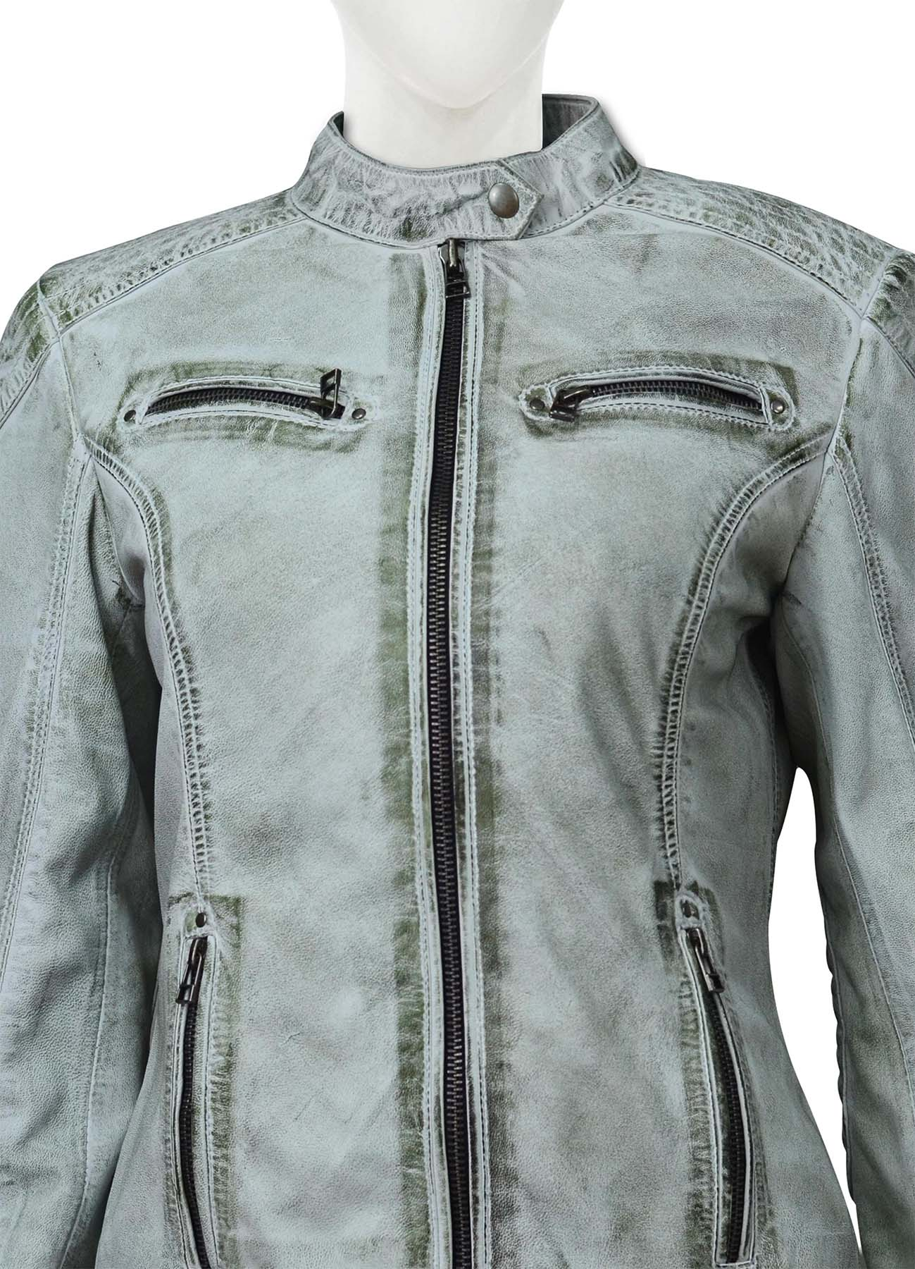 Four Zipper Gray Leather Jacket For Women