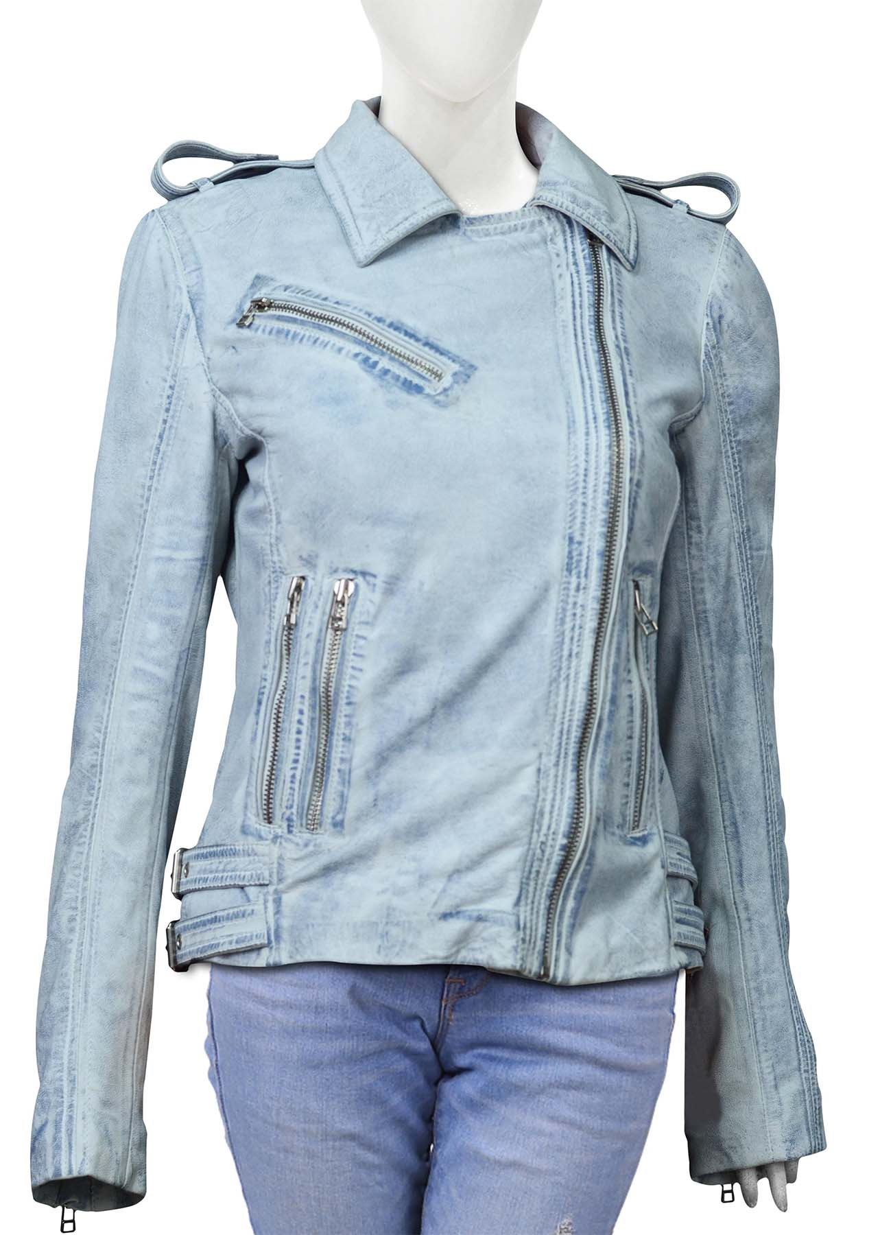 Ice Blue Leather Jacket With Belt For Women