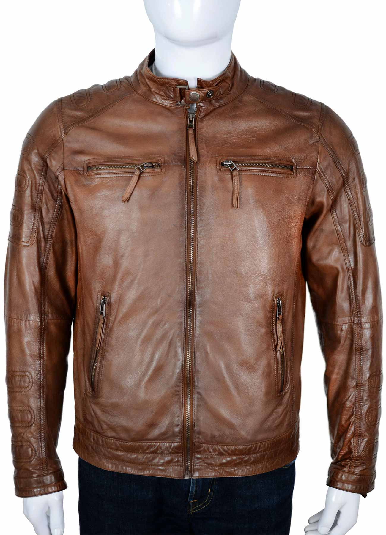 Classic Brown Moto Vintage Leather Jacket Front View