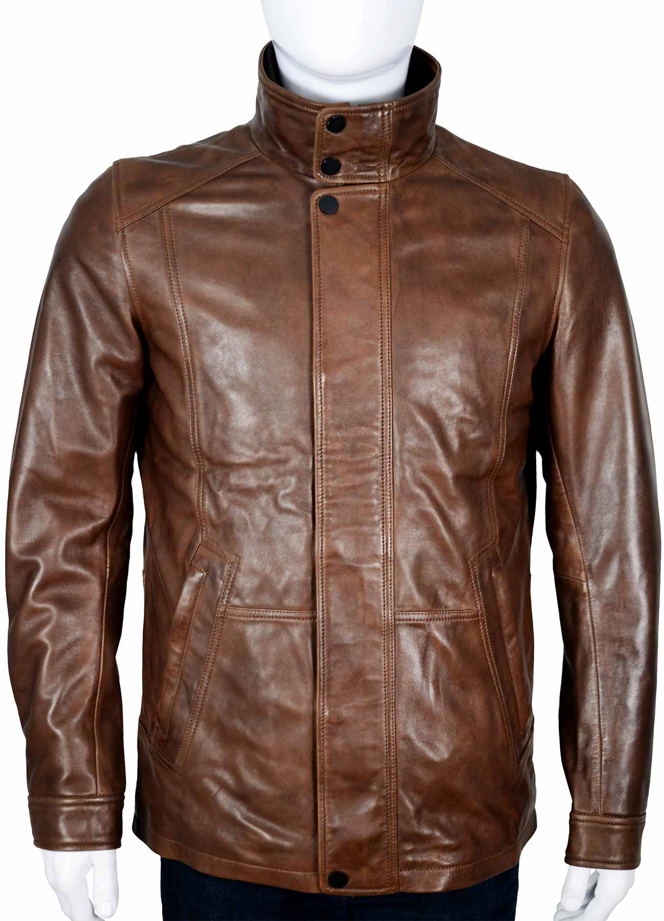 Stand Collar Classic Brown Men Leather Jacket - American Jacket