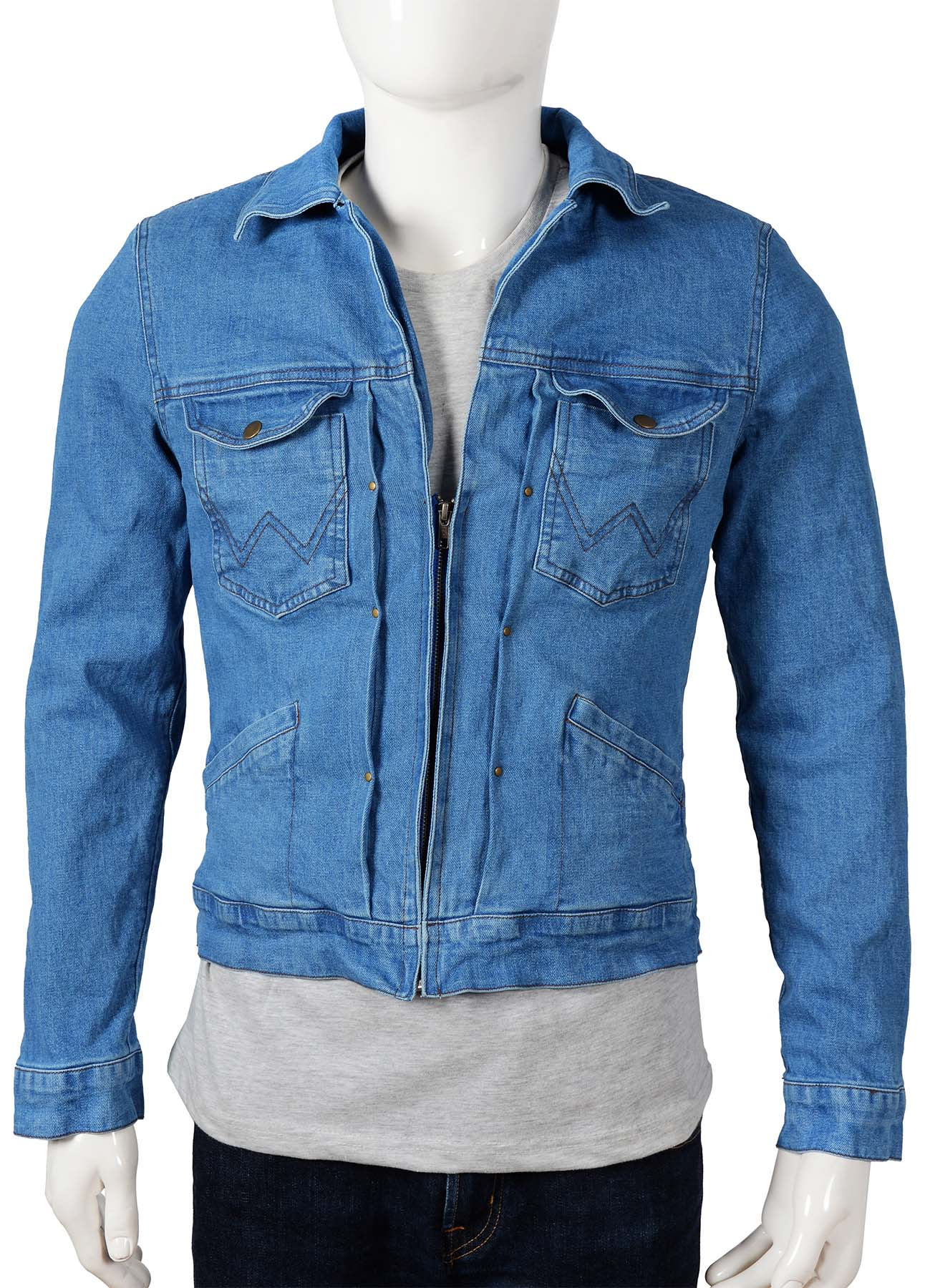 Cool Blue Zipper Denim Jacket with quilted Viscose Lining