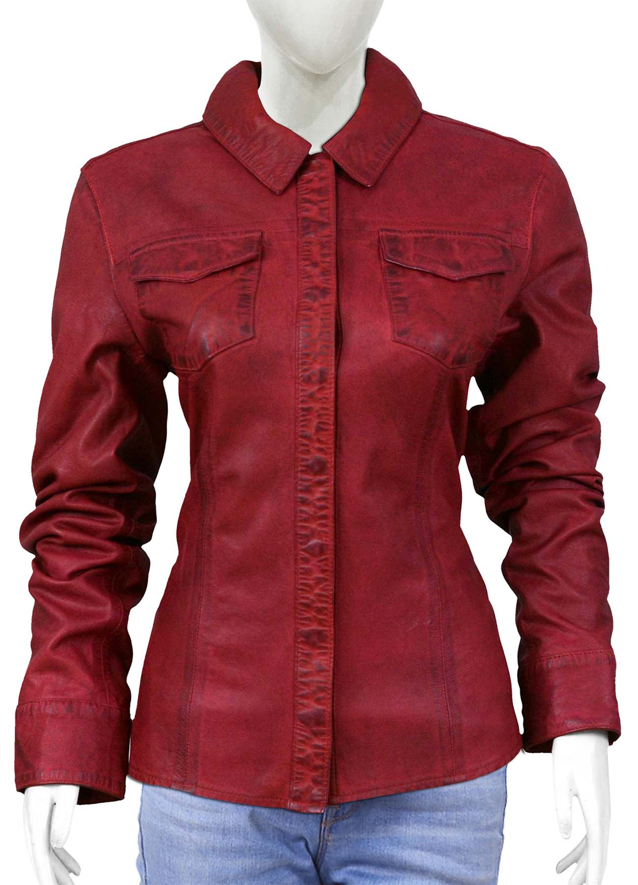 Blood Red Long Sleeve Leather Shirt