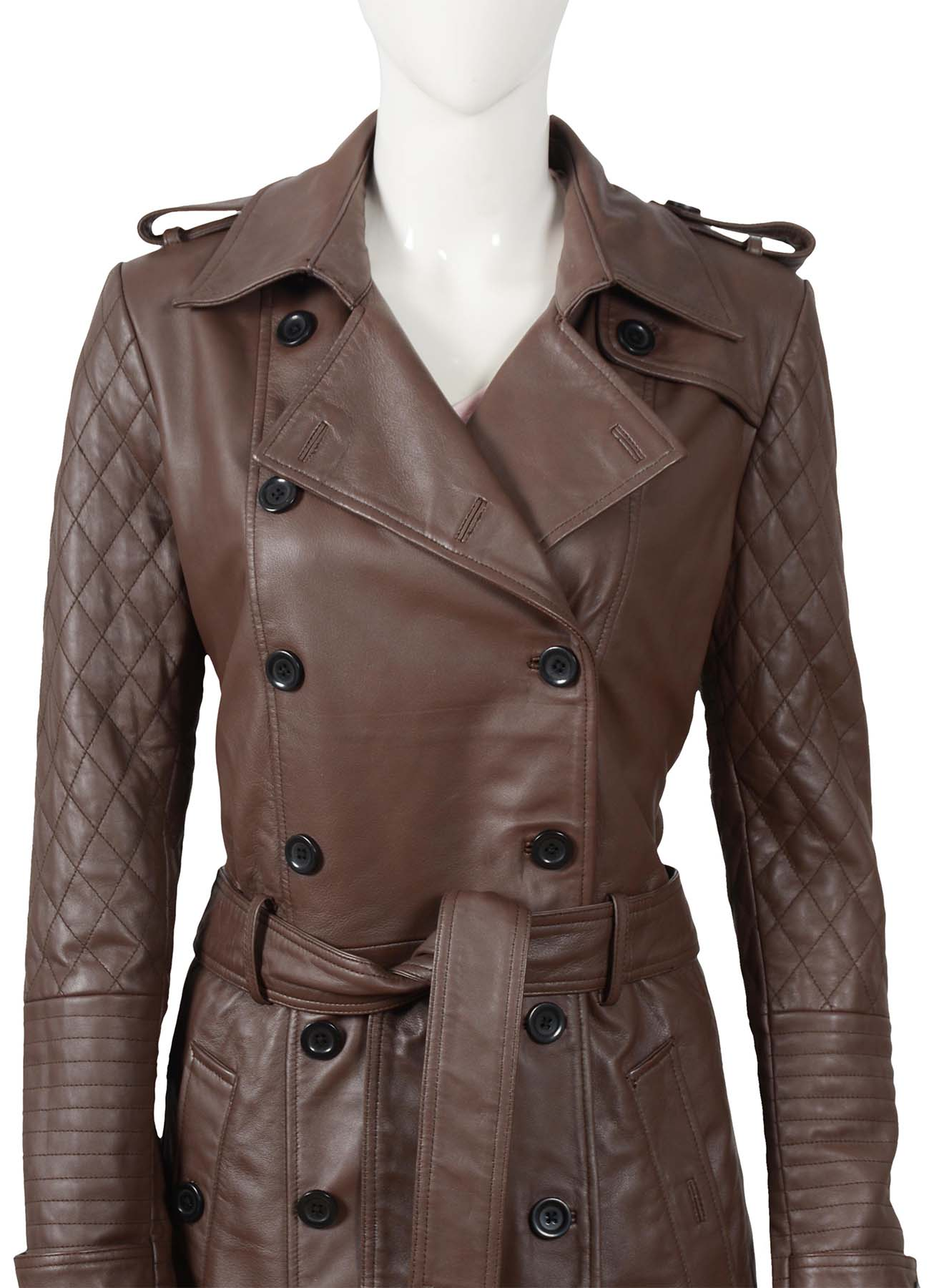 Castle Kate Beckett Chocolate Brown Quilted Leather Trench Coat for Women