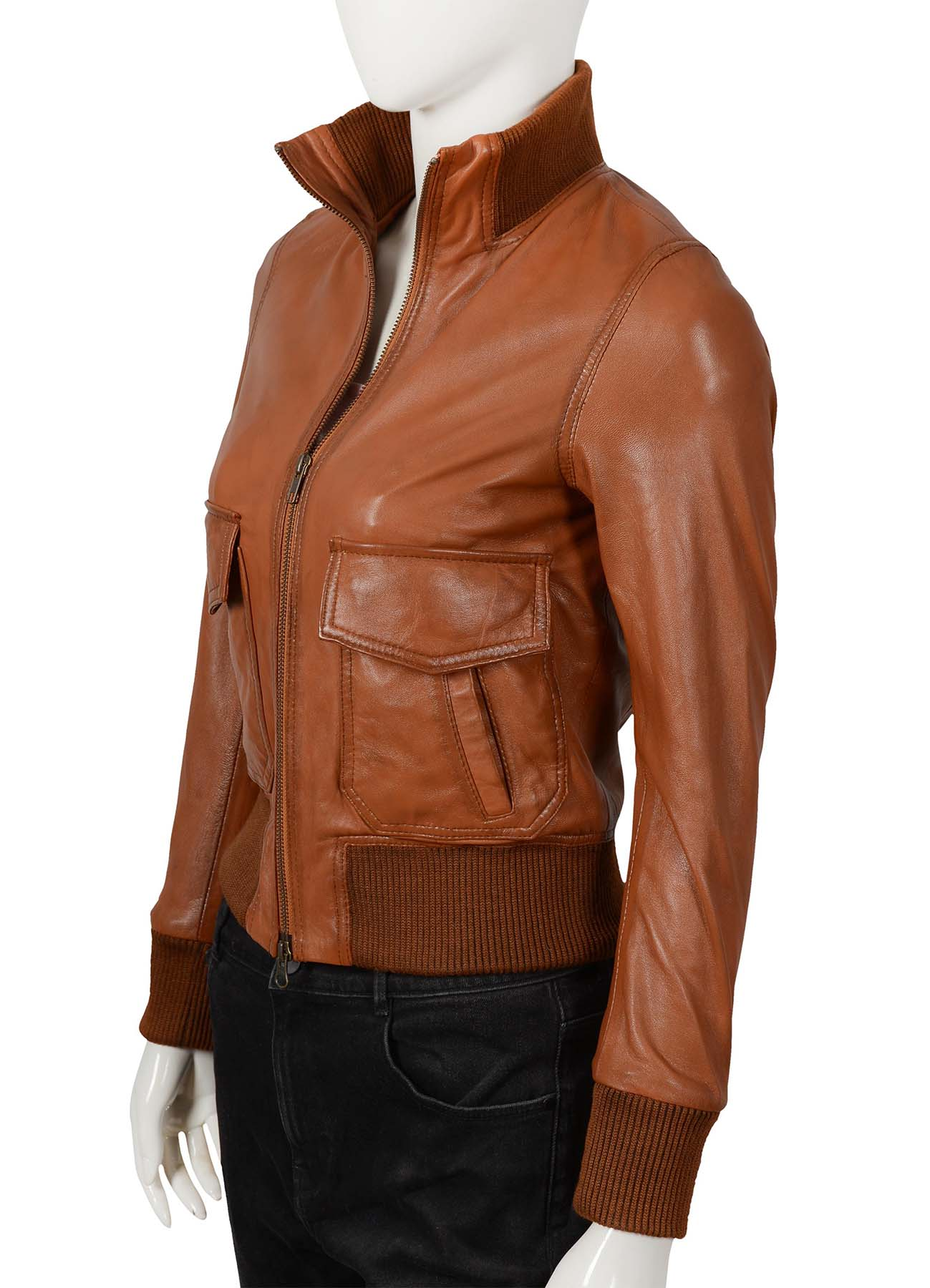 Flap Pockets Light Brown Real Leather Jacket