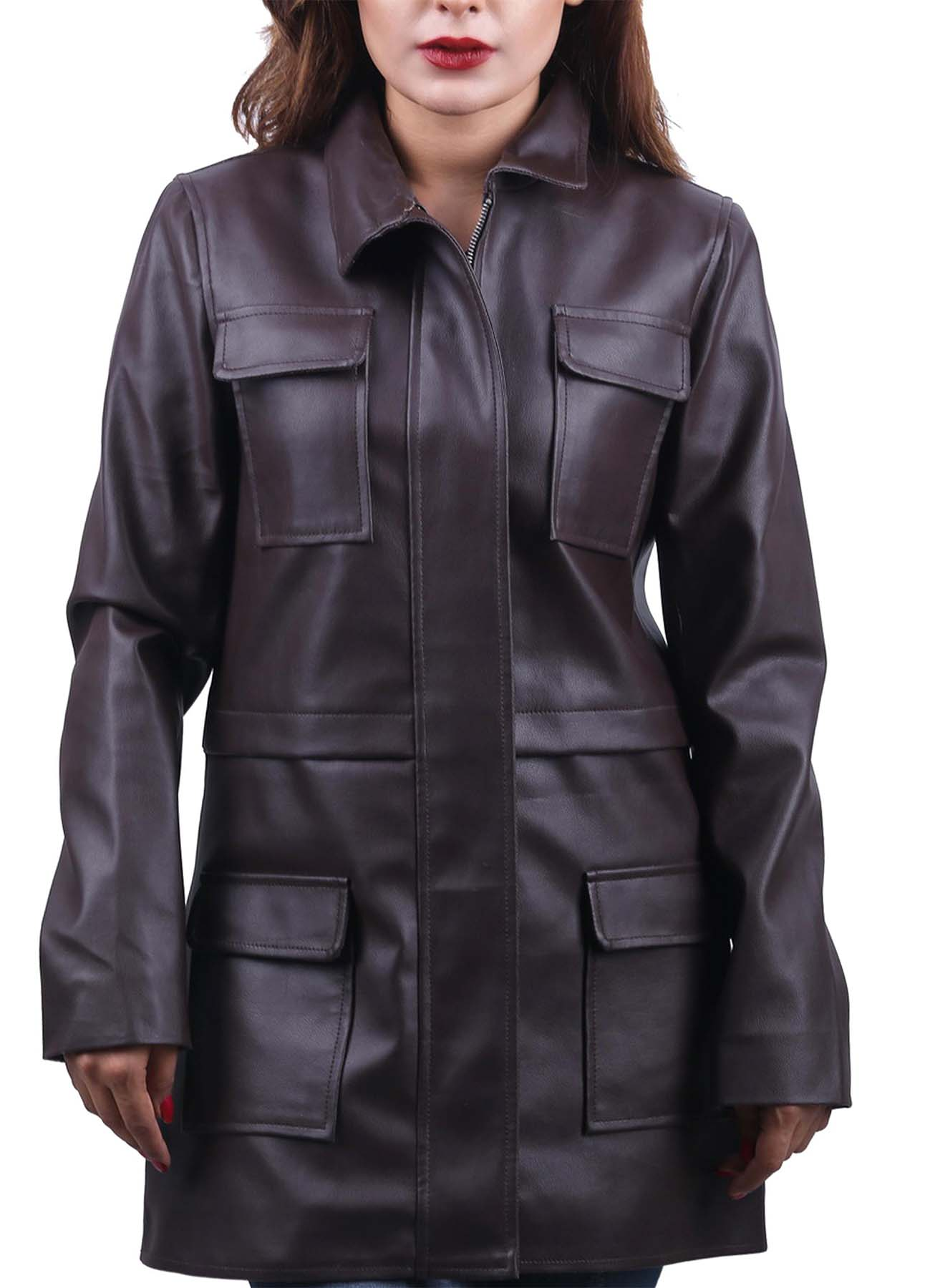 Chocolate Brown Flap Pockets Long Leather Coat For Women