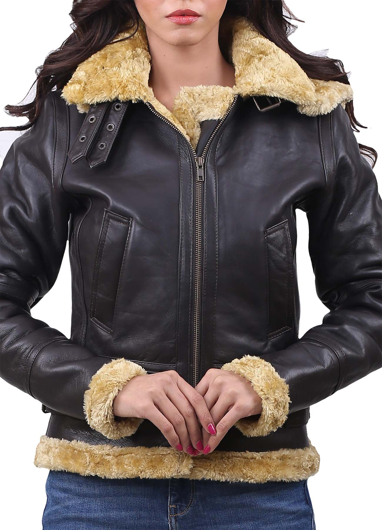 Golden Shearling Black Real Leather Jacket For Women