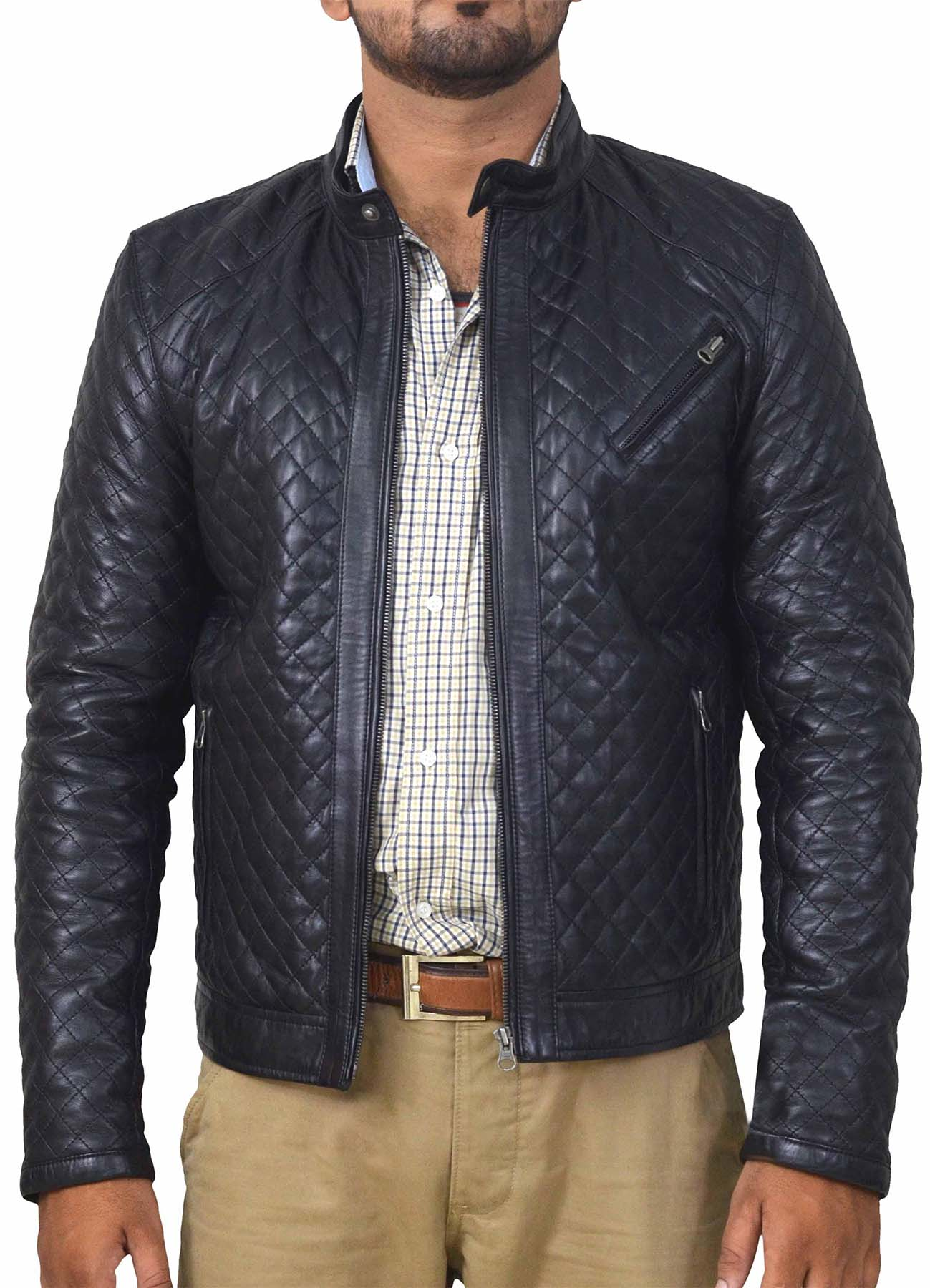 Black Fully Diamond Quilted Leather Jacket For Men