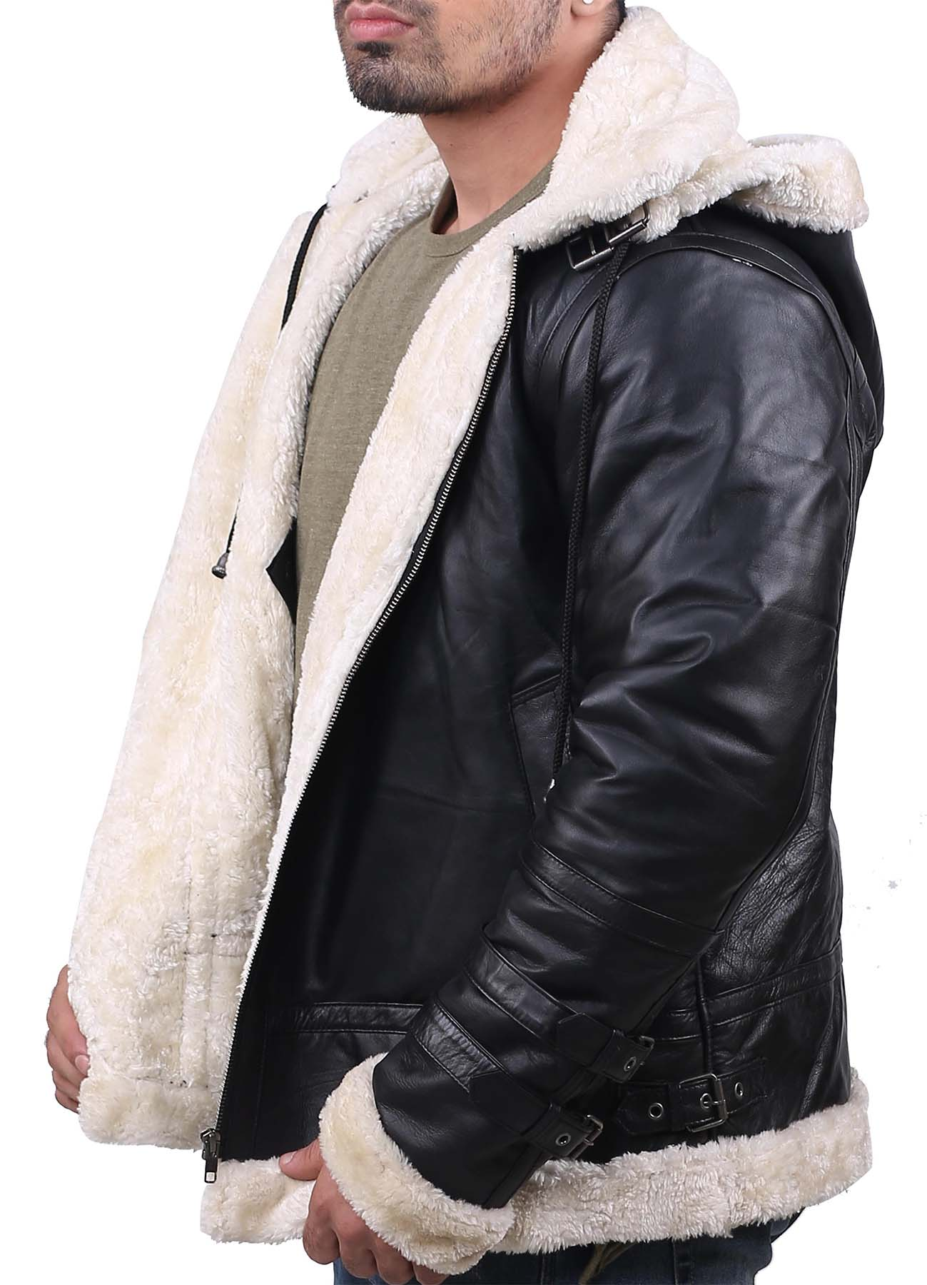 Black Soft And Real Leather Jacket With B3 White Shearling For Men