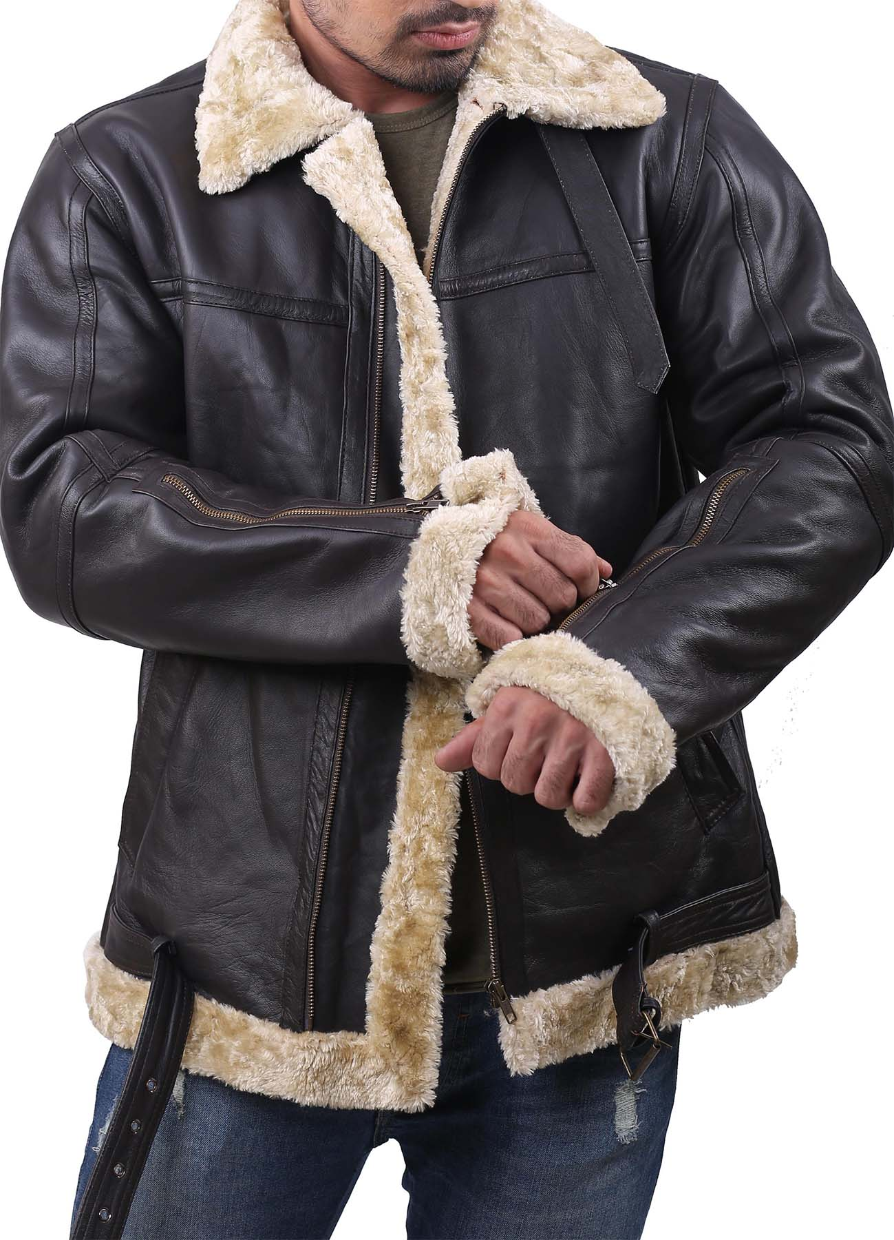 Black Soft B3 Leather Jacket With Golden Shearling