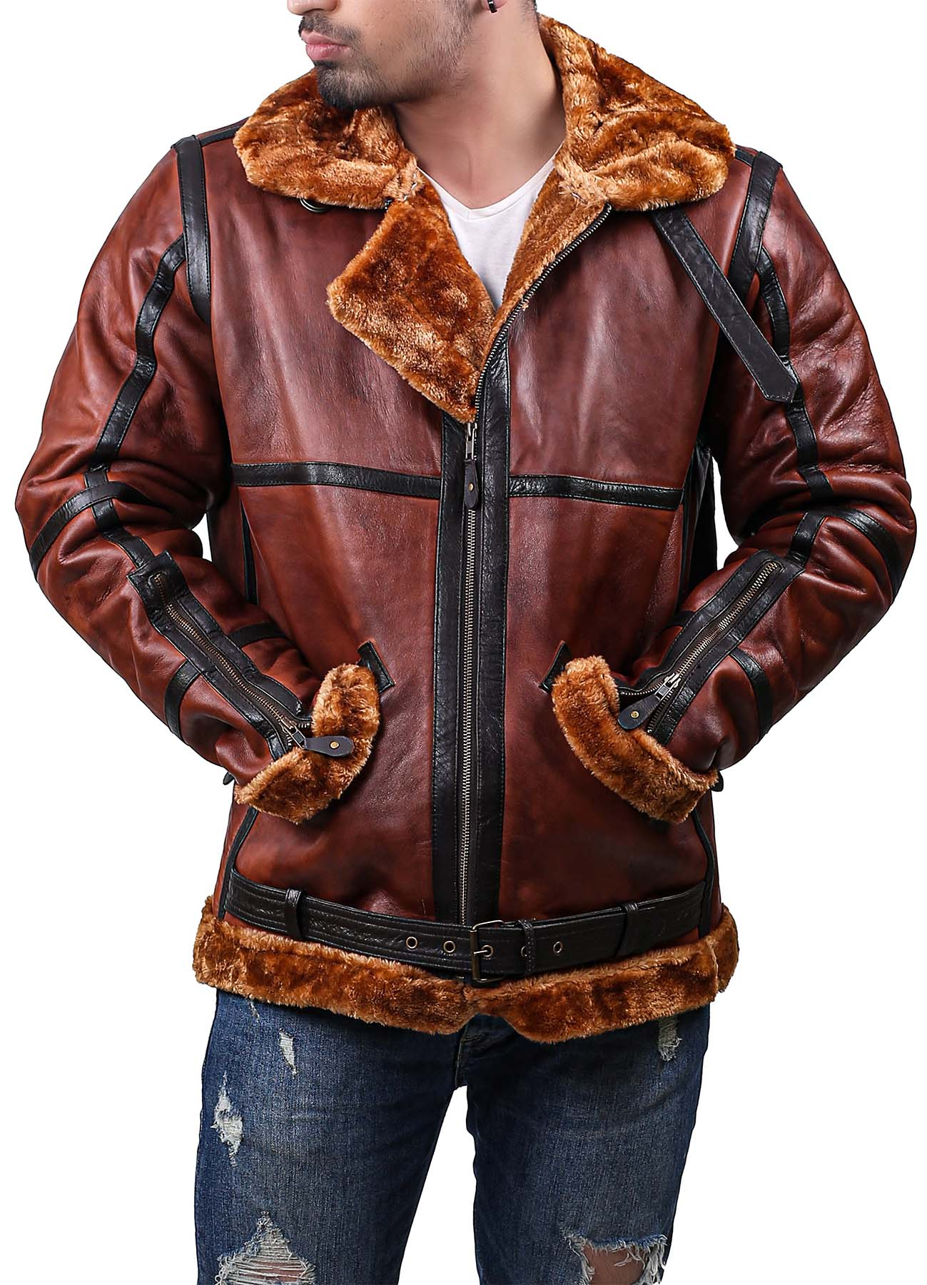 Black And Brown B3 leather jacket with Rust Shearling
