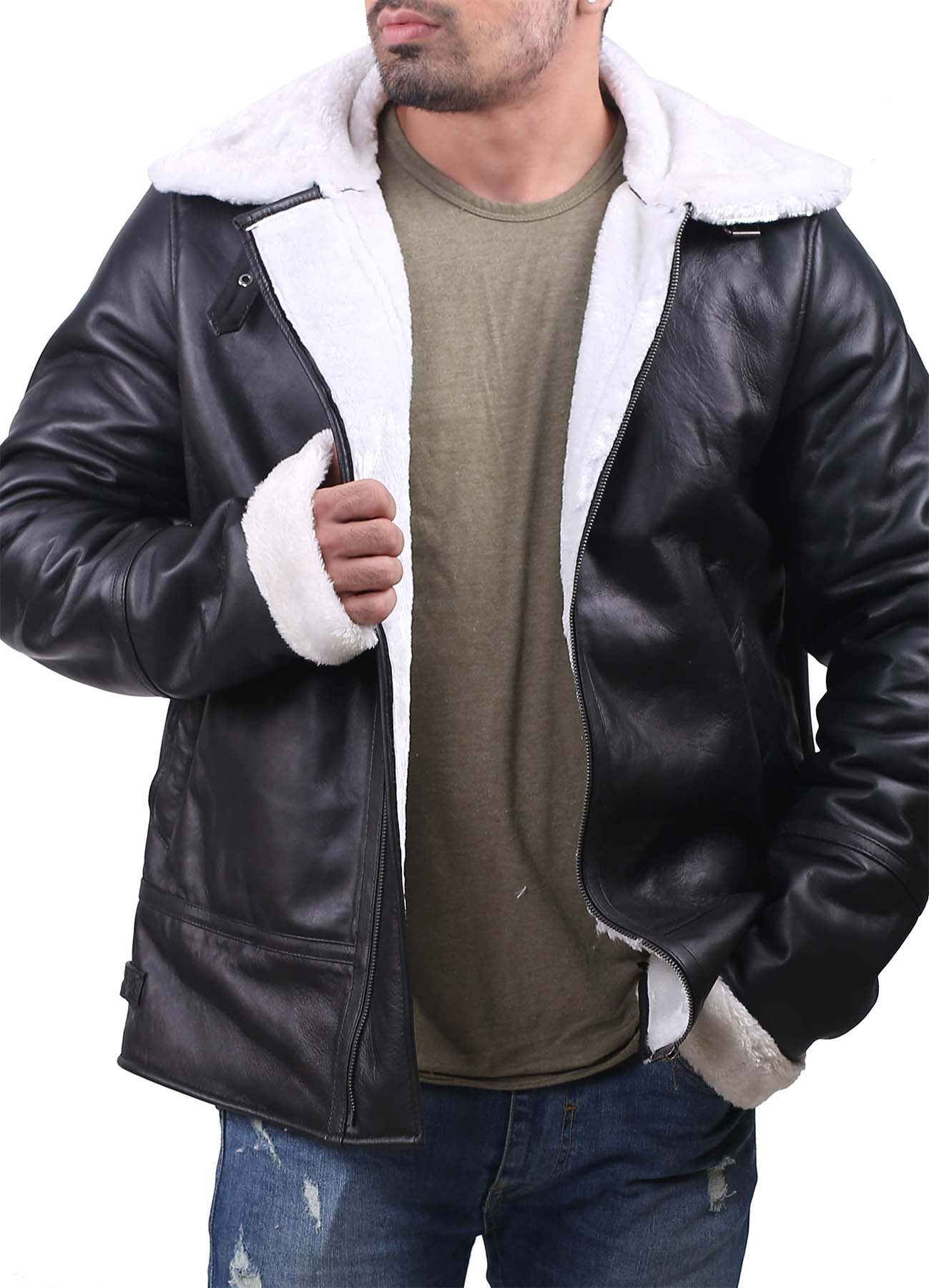 Black Bomber Jacket With Shearling Collar