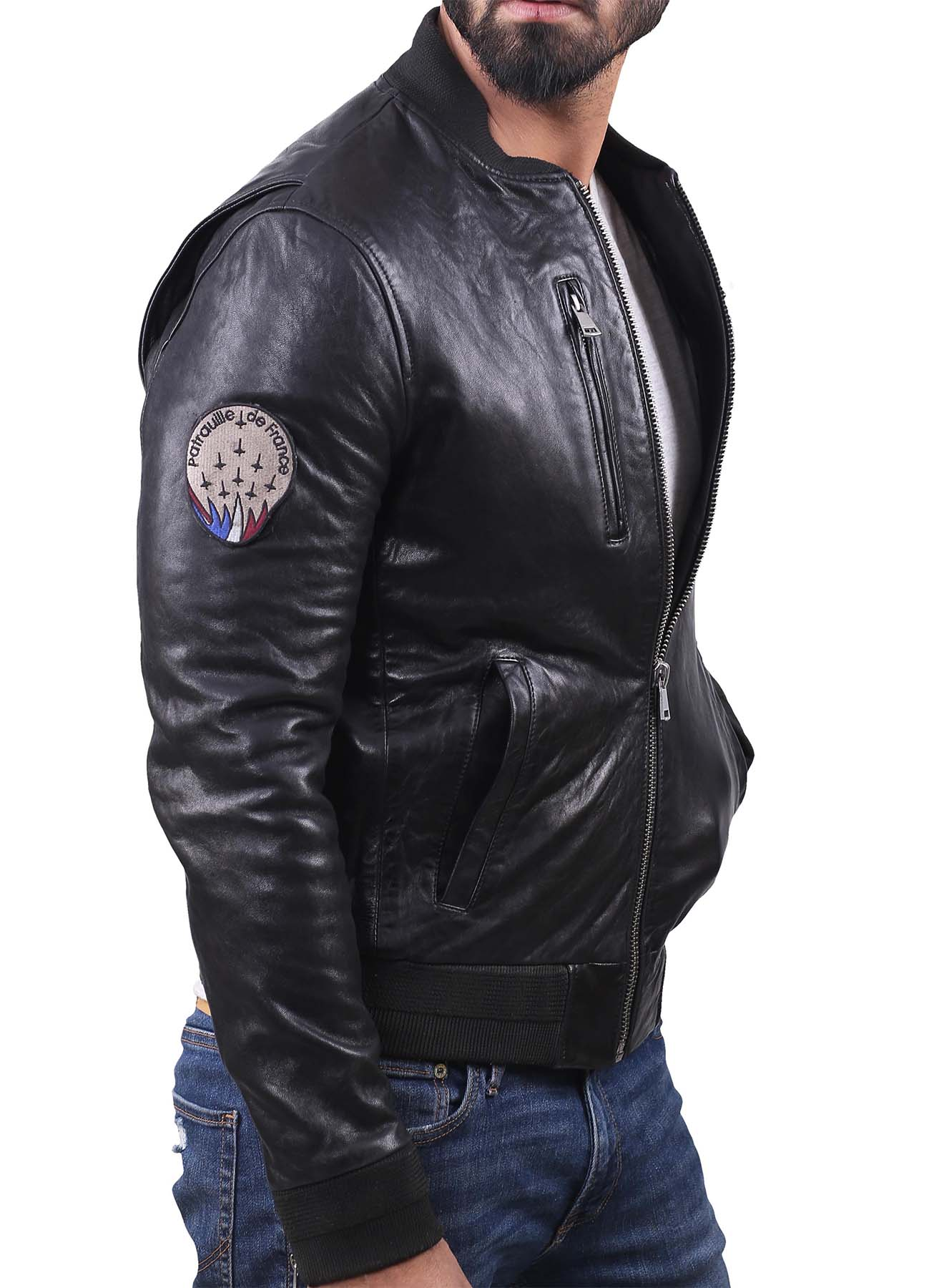Real Classic Bomber Leather Jacket With Knitted Rib Collar