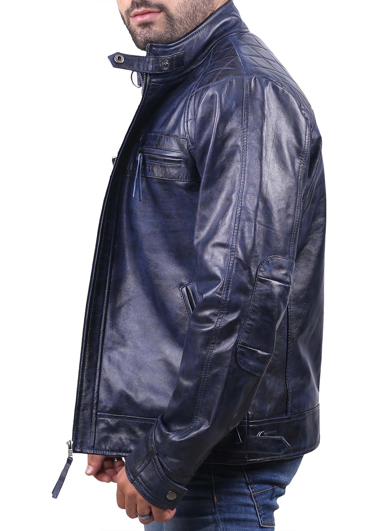 Quilted Biker Navy Blue Waxed Leather Jacket