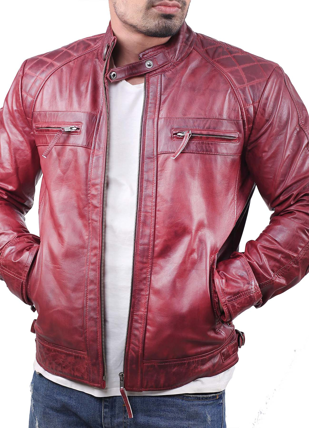 Quilted Shoulder Biker Maroon Waxed Leather Jacket