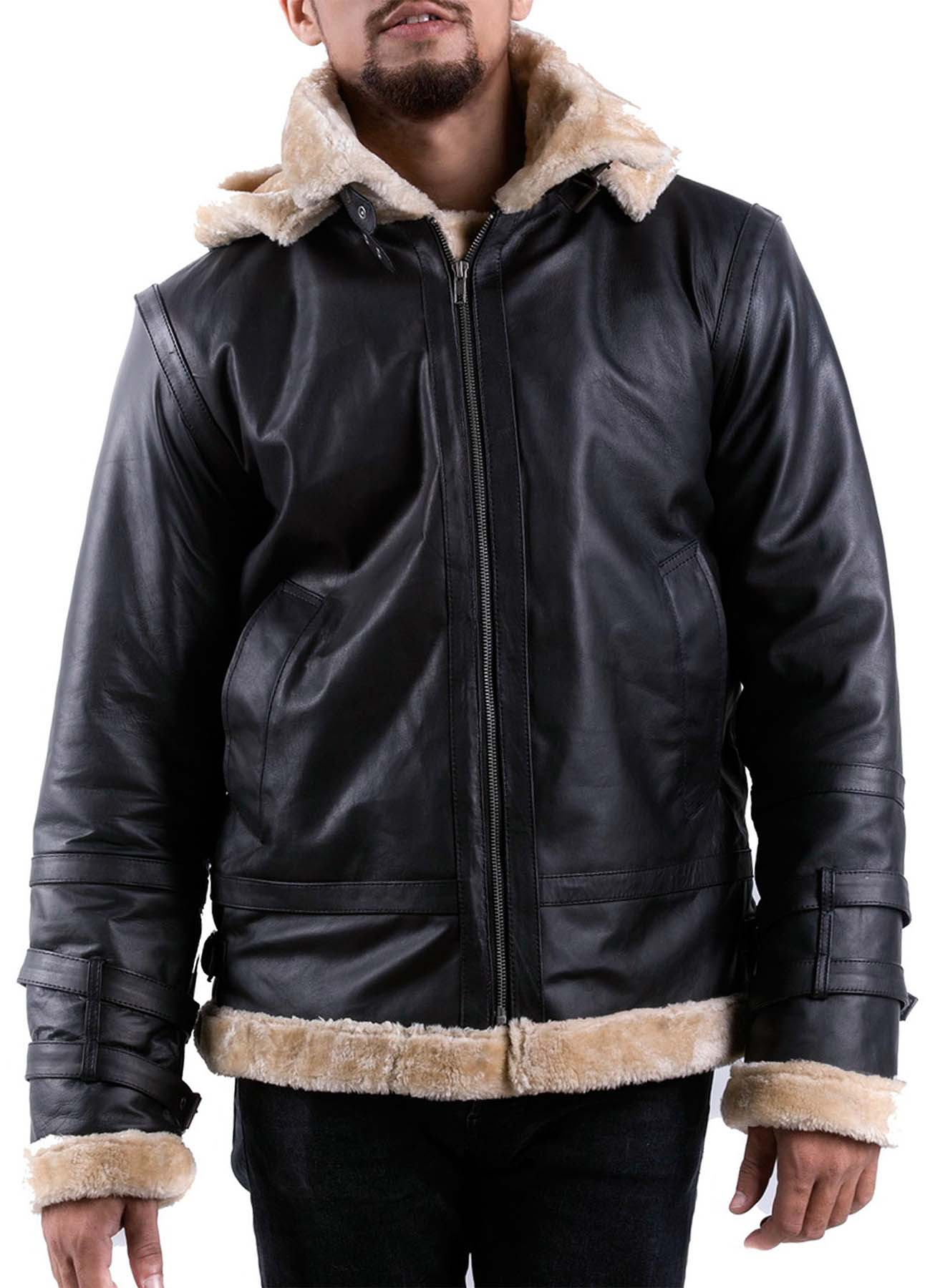 Black Bomber Shearling Jacket With Hoodie for Men