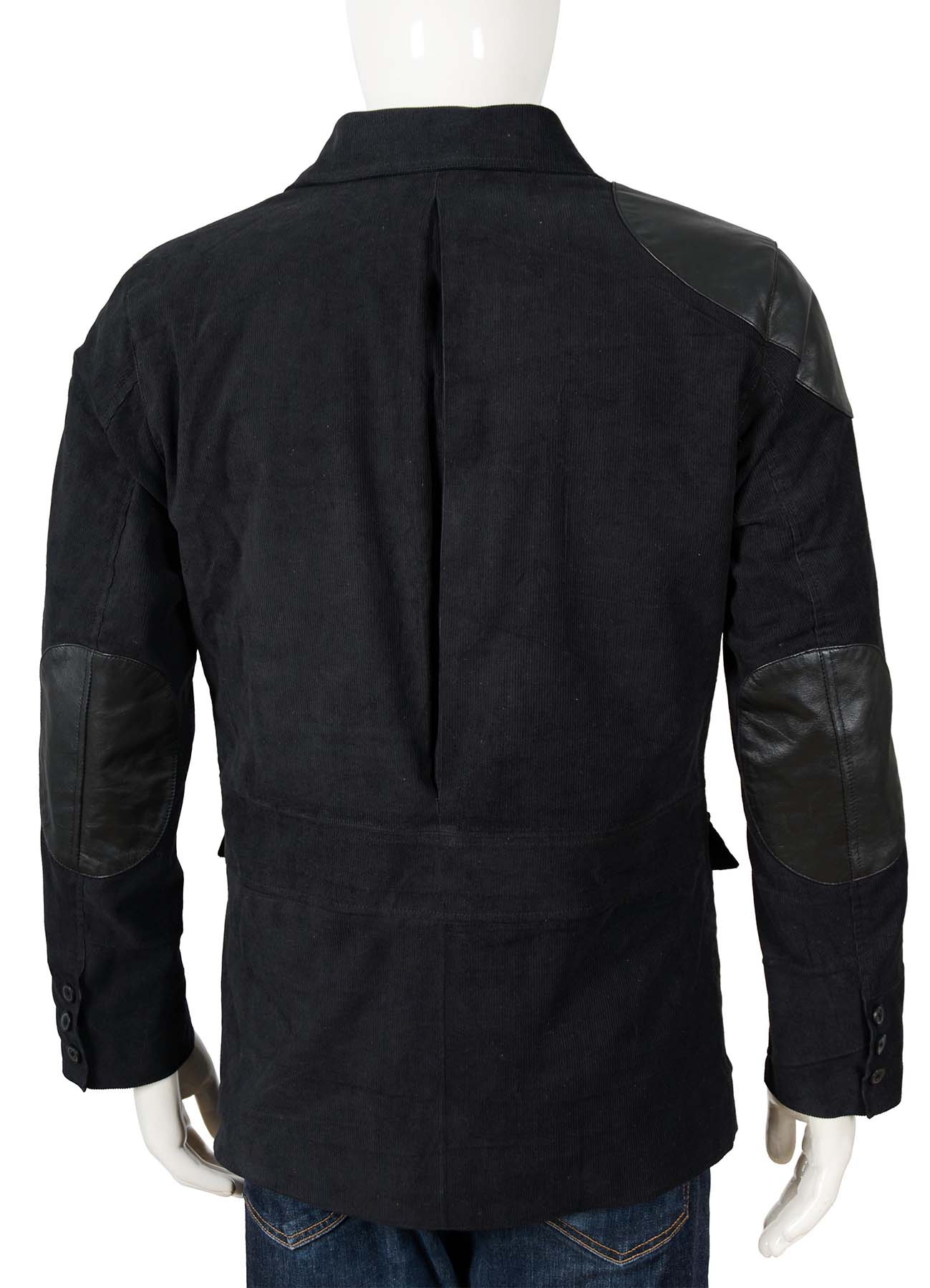Black Corduroy Jacket With Leather Patch