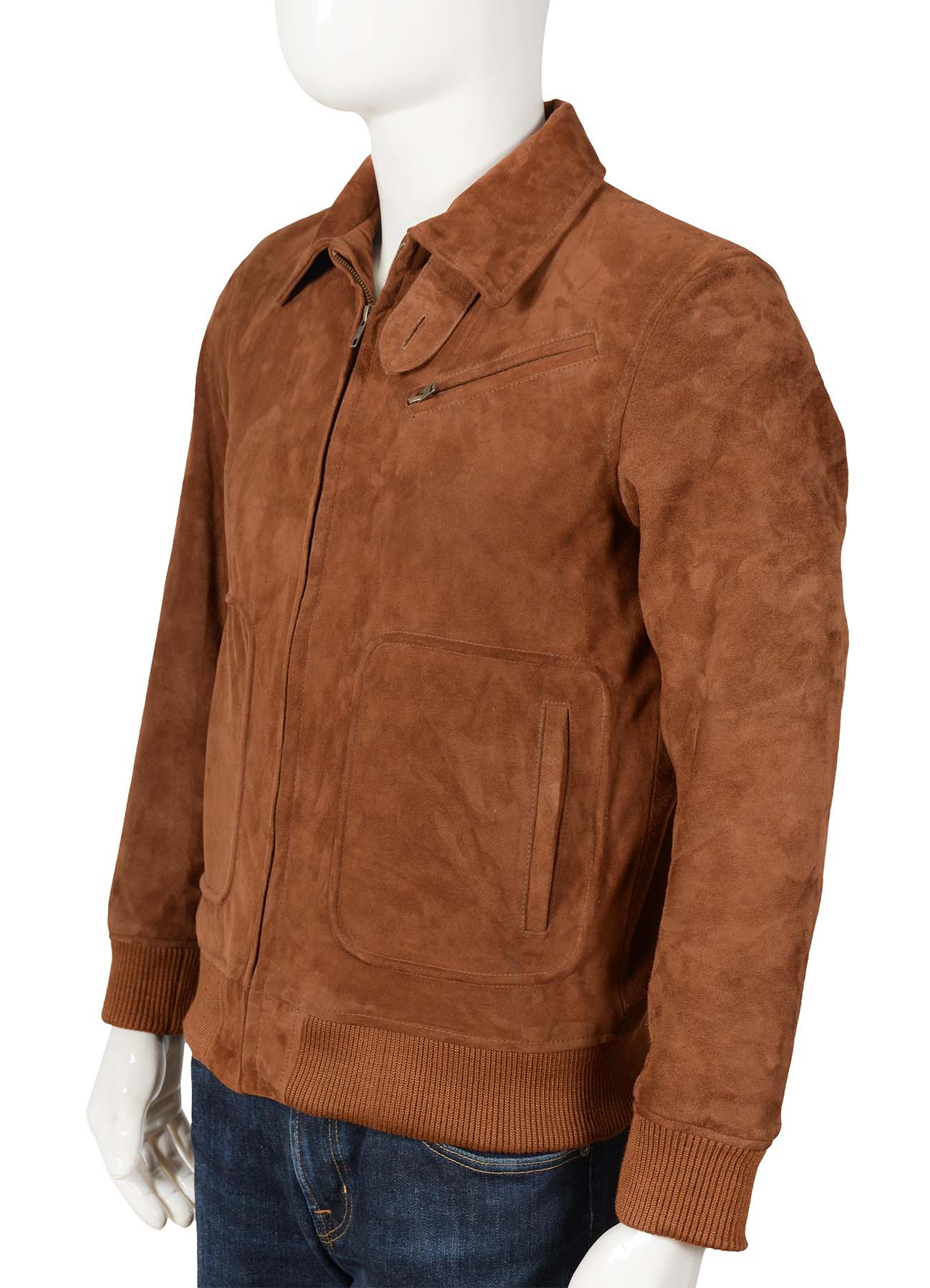 Brown Suede Leather Jacket With Shirt Style Collar