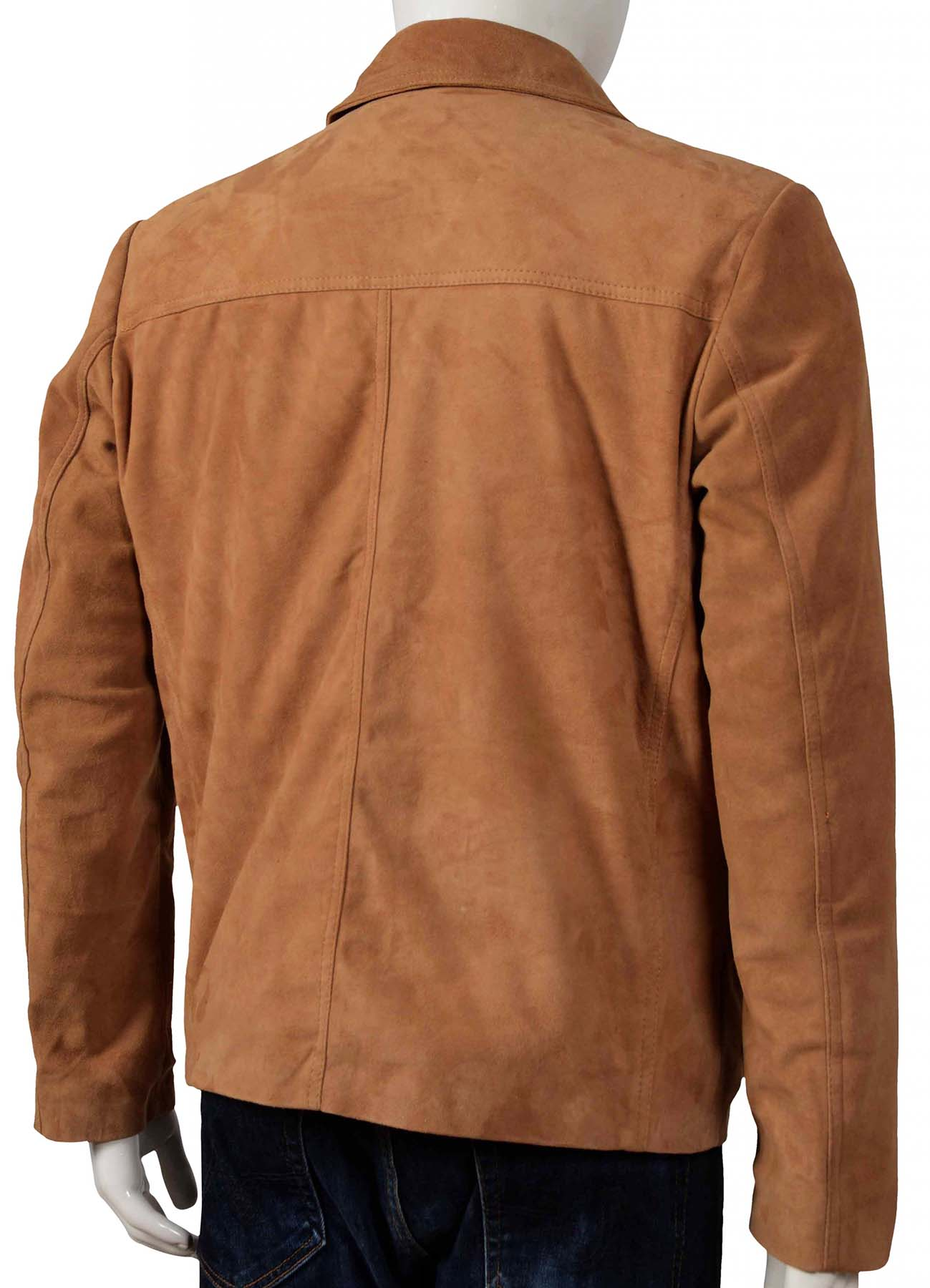 Shirt Style Collar Brown Suede Leather Jacket for Men