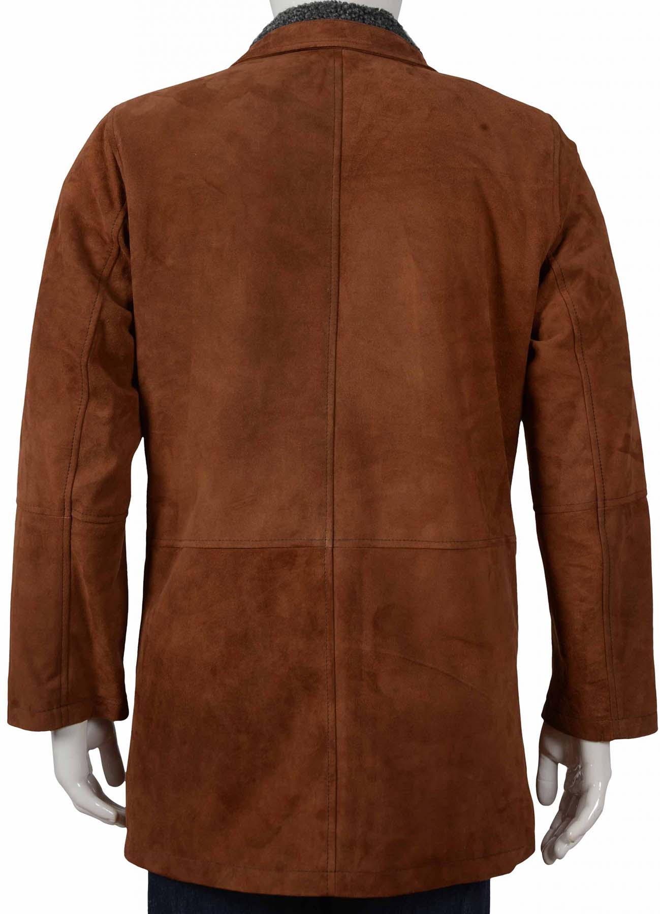 Brown Long Suede Leather Coat With Shearling Collar
