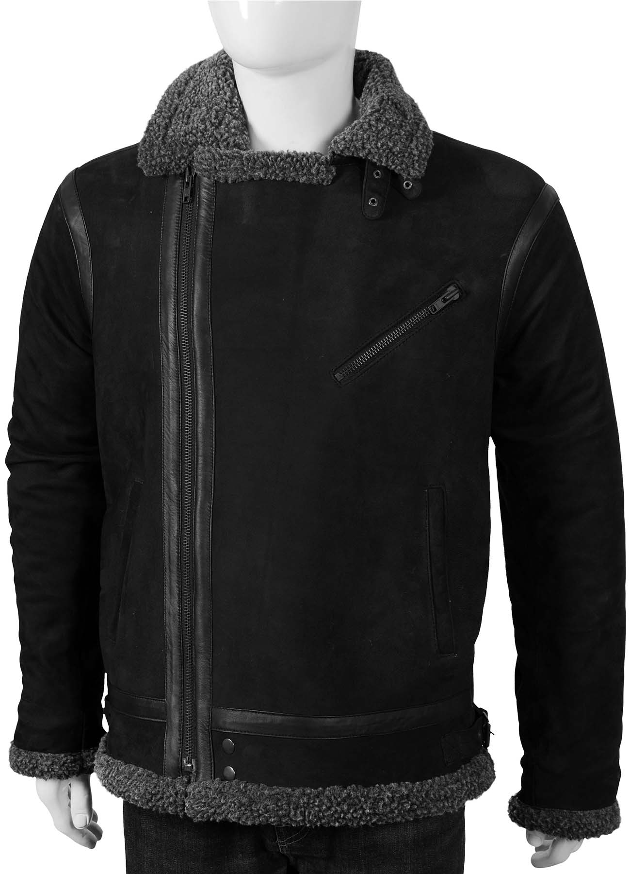 Black Suede Bomber Jacket With Dark Gray Shearling