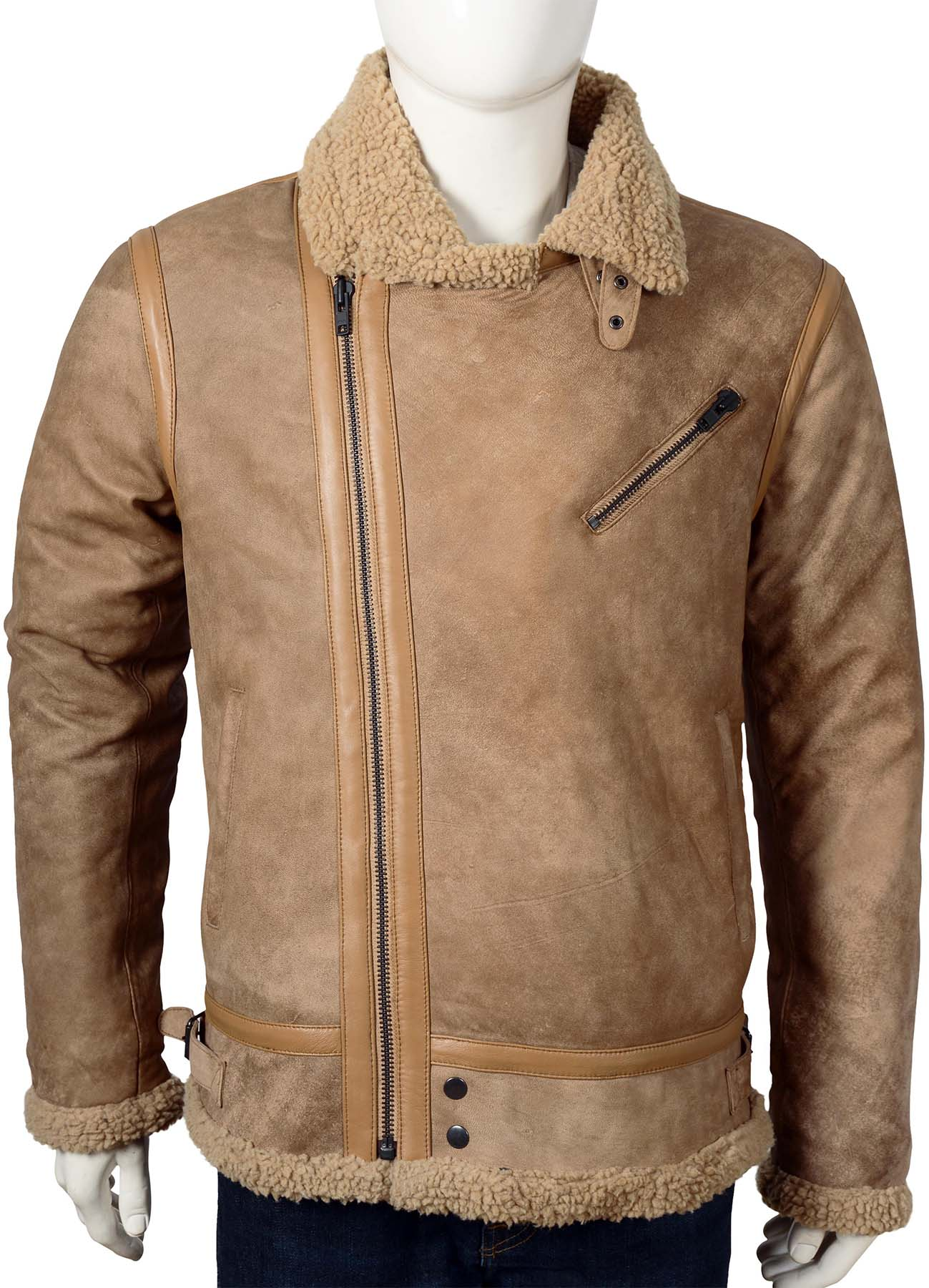 Beige Brown Bomber Leather Jacket With Fake Fur Shearling Jacket