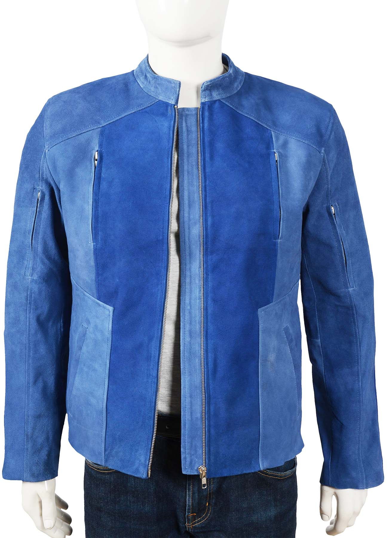 High Quality Blue Suede Leather Jacket
