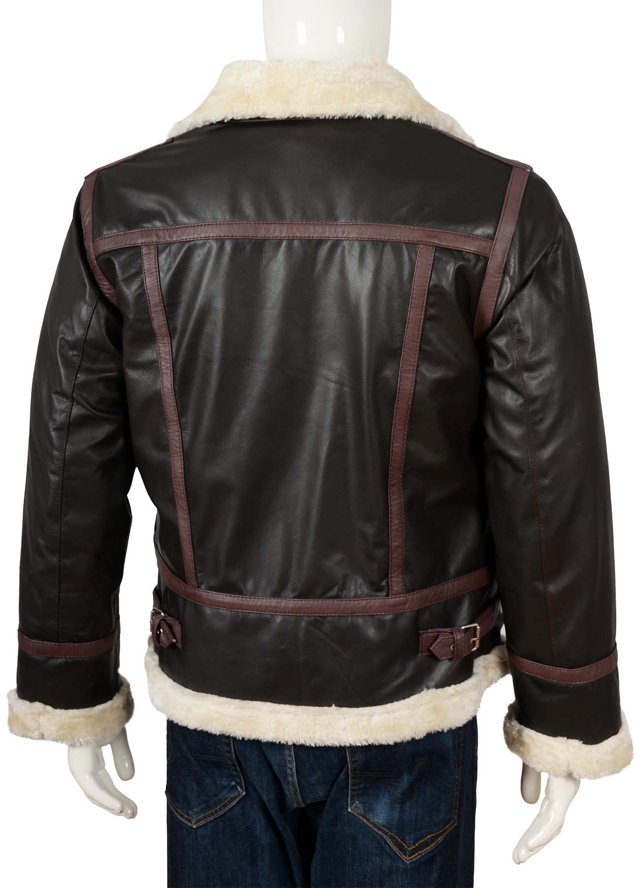B3 Brown Bomber Shearling Jacket With Reddish Brown Stripes