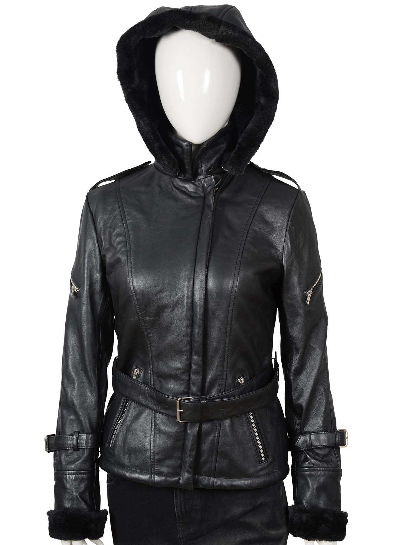 Flap And Buckle Shearling Leather Coat With Hoodie For Women