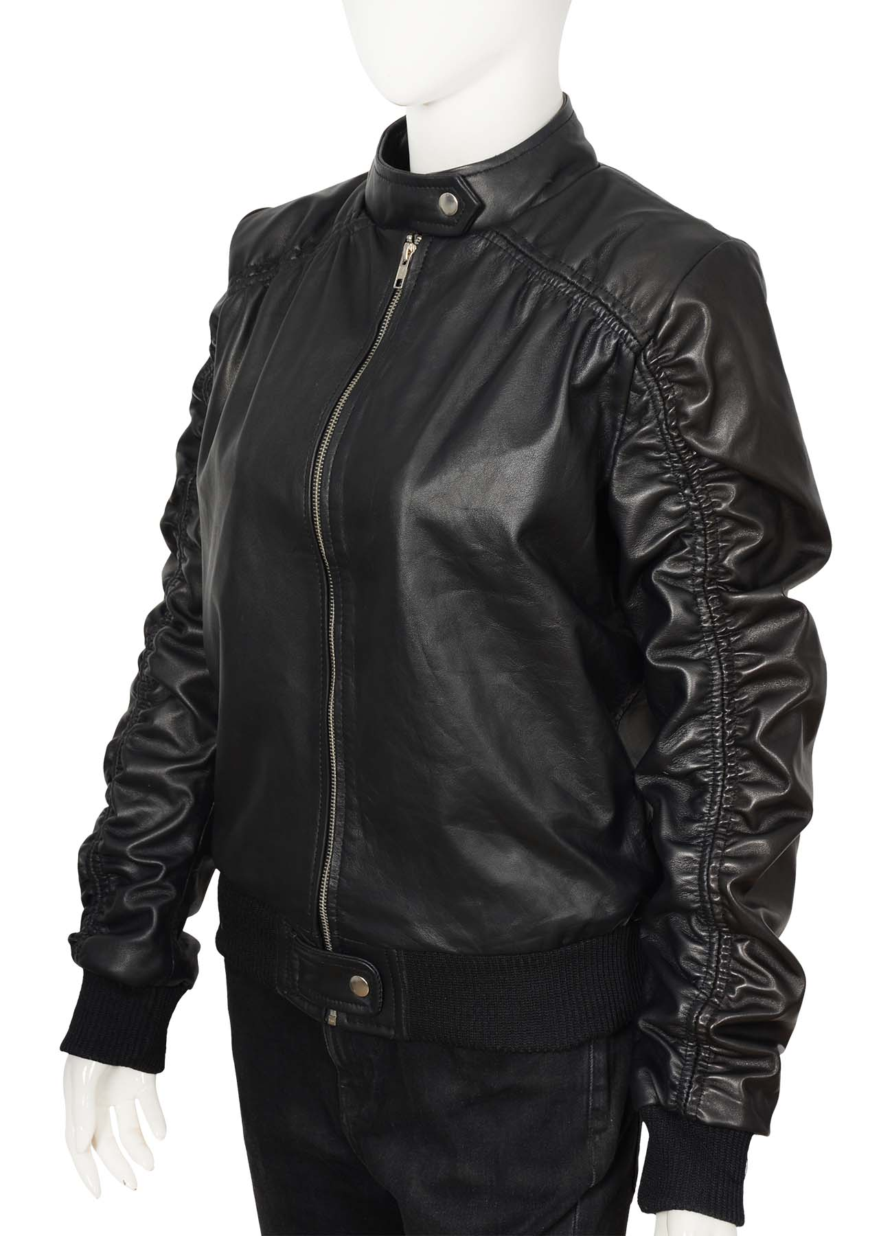 Plated Sleeves Classic Black Leather Jacket For Women