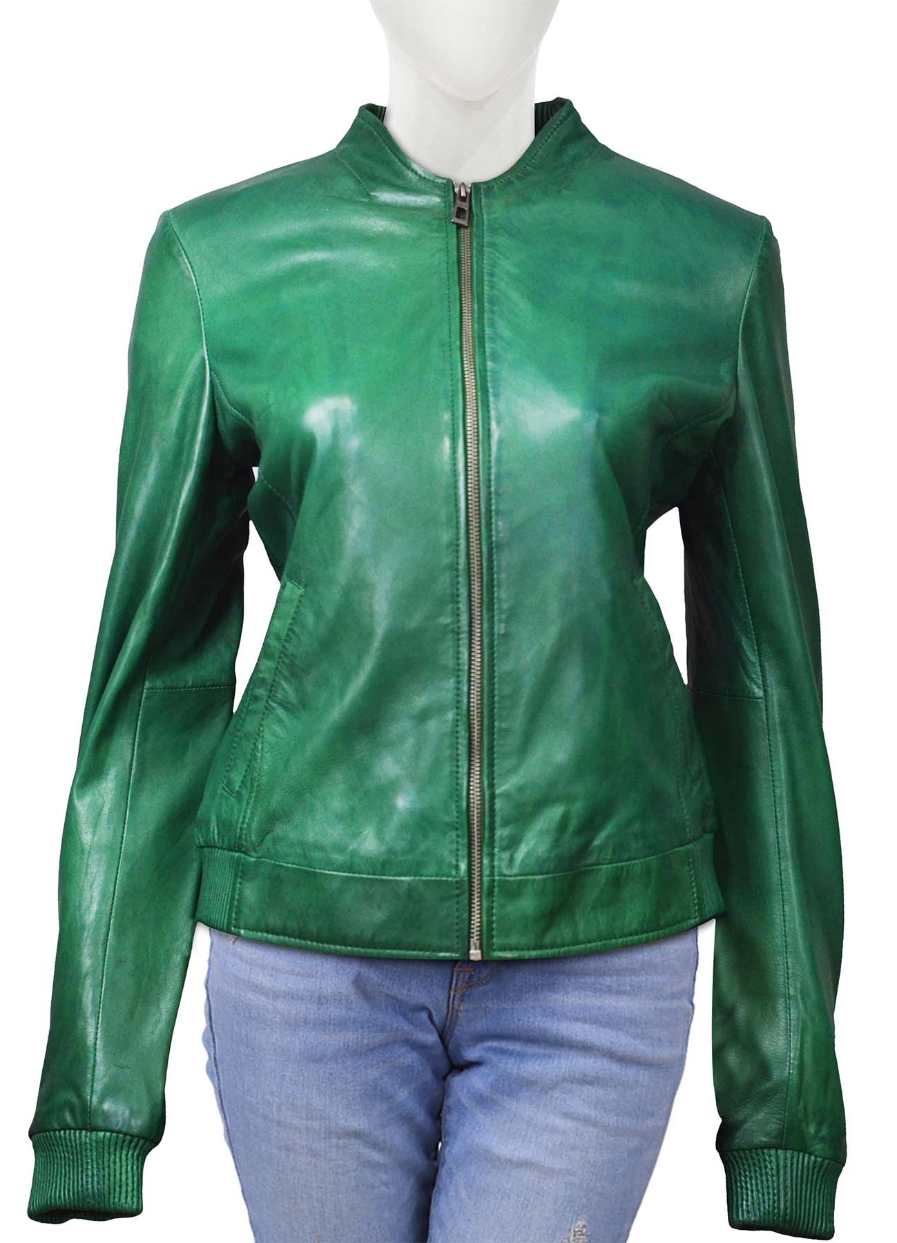 Bright Green Classic Leather Jacket For Women