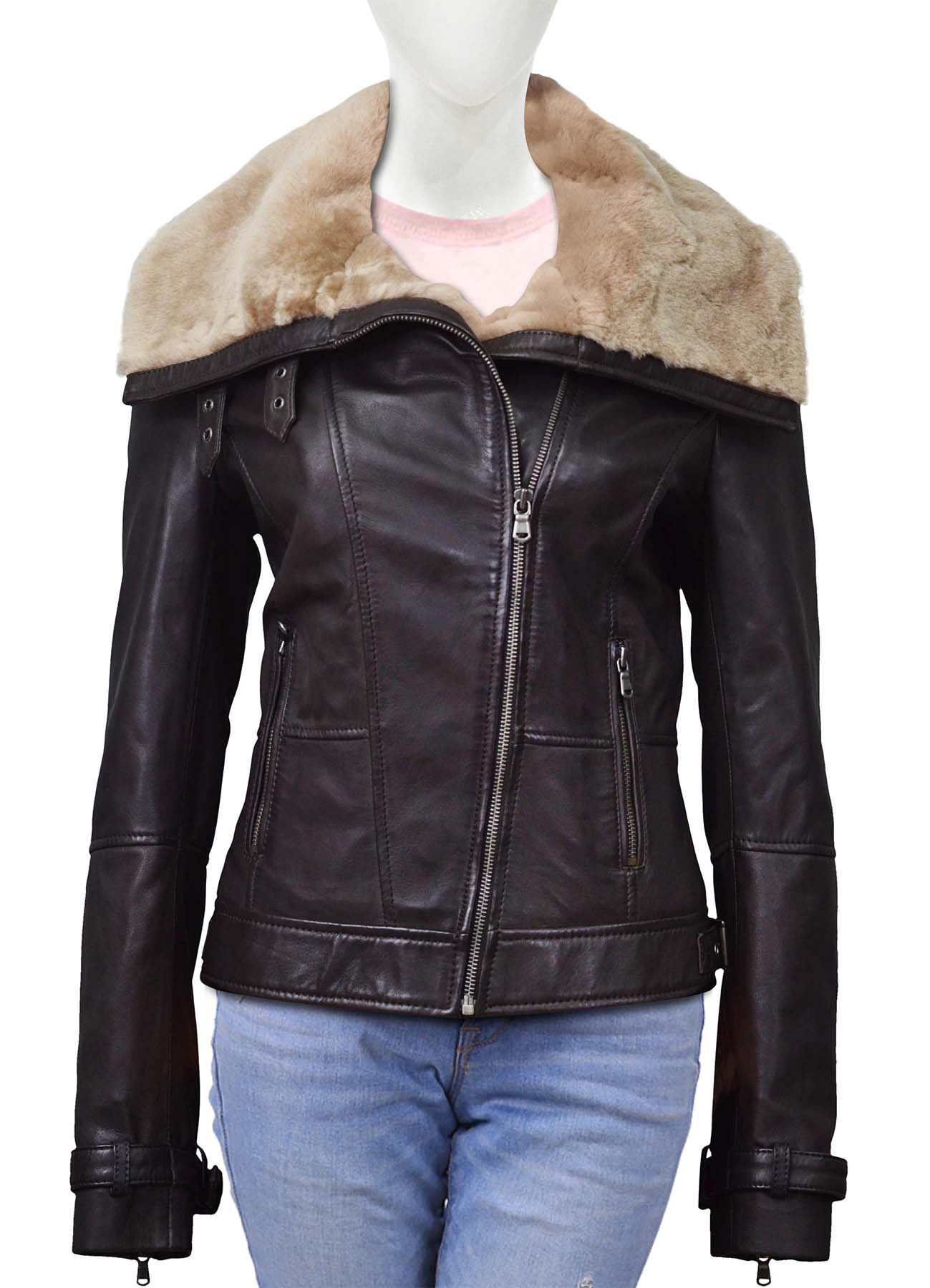 Chocolate Brown Shearling Collar Leather Jacket For Women