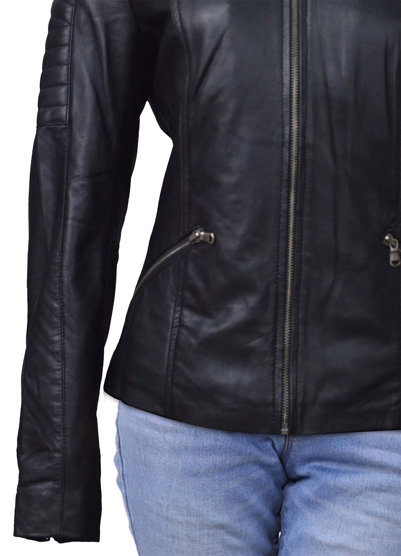 Black Soft Collarless Leather Jacket With Quilted Sleeves